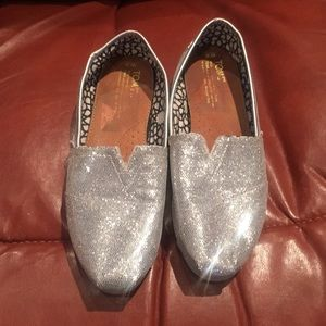 Tom's Silver Sparkly Canvas Loafers Shoes